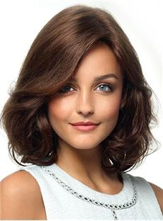 Graceful and Super Charming  Loose Wavy 100% Human Hair Lace Wigs with Side Bang 12 Inches