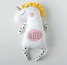 This Personalized Unicorn is a safe and child-friendly toy with embroidered name. Cute and romantic gift for baby girl or unicorn lover. Stuffed animal doesnt contains small or solid parts. Suitable for sleeping time with little one. Custom Stuffed Toy - just add NAME to the note to