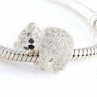 Crystal Koala Bear Trollbead / Pandora Style Charm Bead