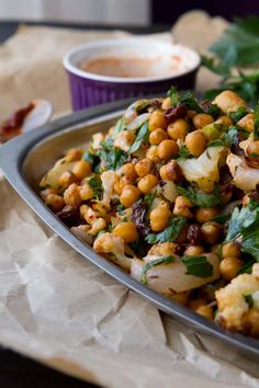 Roasted Cauliflower Salad with Spicy Dressing - Vegan
