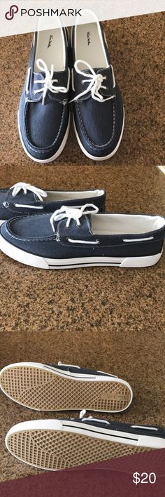 Blue denim men boat loafers Gray blue denim loafers with sneakers bottoms and ties Thom Mc An Shoes Boat Shoes