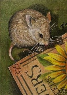 ACEO OE Giclee Print Mouse Art Melody Lea Lamb by MelodyLeaLamb