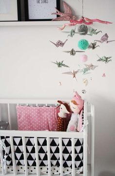 Lovely origami mobile. #nursery #decor #estella