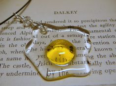 Egg Necklace Pendant Clear Yellow Glass by GeckoGlassDesign