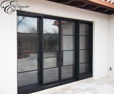Custom iron door unit with sidelights. Iron Doors, Double Doors, Contemporary Design, Bedroom Decor, The Unit, Windows, Architecture, Furniture, Ideas