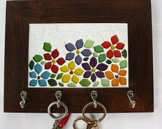 Porta chaves Mosaico flores coloridas                                                                                                                                                      Mais