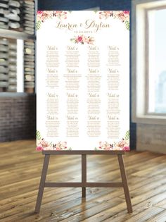Wedding Seating Chart  for 16 TABLES  Large by CharmingEndeavours