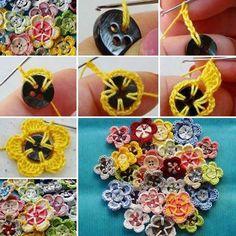 Crochet Flowers of Buttons  | Обвязываем пуговицы крючком