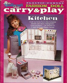 Fashion Doll Carry and Play Kitchen Barbie Plastic Canvas Pattern The Needlecraft Shop 933736. $12.00, via Etsy.   I hope this is here payday too :)