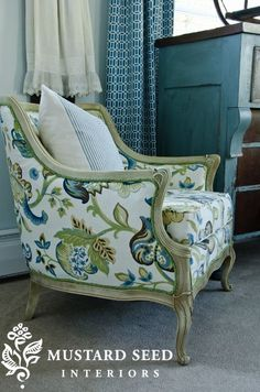 Reupholstered French Chair 2 - www.missmustardseed.com
