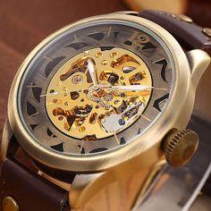 SHENHUA Brand Vintage Bronze Men Watches Skeleton Clock Male Antique Steampunk Casual Automatic Mechanical Wristwatches relogio #Affiliate