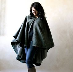 Hooded cape, green cape, woodland cape, outerwear, wool cape, winter cloak, women clothes, winter clothes, gift idea for her, hooded cloak