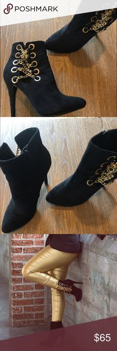 Black Boots With Gold Chained Side Beautiful black boots with gold chains on the side. Only worn once for photo shoot. Shoes Heeled Boots