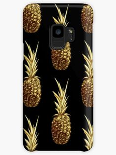 'Golden pineapple' Case/Skin for Samsung Galaxy by Sonia Vinograd Guidotti Chiffon Tops, V Neck T Shirt, Pineapple, Classic T Shirts, Stuff To Buy, Shopping, Hooded Sweatshirts, Crew Neck, Cowls