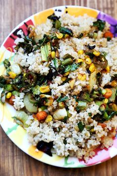 Spicy Miso Rainbow Vegetable and Baked Brown Rice