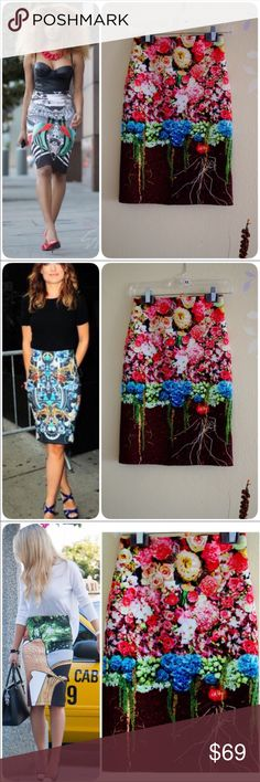 Clover Canyon Flowery Neoprene Skirt NWOT The pictures show the style inspiration. Last picture is the one on sale. Famous with its neoprene material and design, clover canyon certainly will make you stand out. Dress it up, down, whichever suits your mood.                                                  ❤️Waist 25-26❤️Hip 35-36❤️Length approx 22❤ Clover Canyon Skirts Pencil