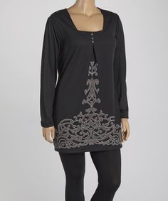 Love this Gray Damask Square Neck Tunic - Plus on #zulily! #zulilyfinds
