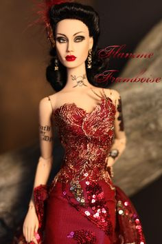 https://flic.kr/p/f5MoCT   flamme framboise close   OOAK gown for Sybarite by Madeleine Rose Couture  burgundy net with micro sequin and embroidery detail sheath gown with attached train and matching headpiece.  Underneath gold mesh stockings.