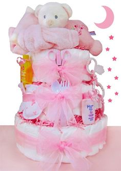 Baby girl's need baths, naps, and changing -- and the love packed in the adorable Sleepy Bear 3 Tier Diaper Cake - Girl . Baby Shower Diapers, Baby Shower Cakes, Baby Shower Parties, Baby Shower Gifts, Baby Party, Johnson Baby Bath, Bebe Shower, Mesas Para Baby Shower, Nappy Cakes