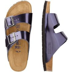 4a772913dec Birkenstock Arizona Suede Metallic Sandals ( 94) ❤ liked on Polyvore  featuring shoes