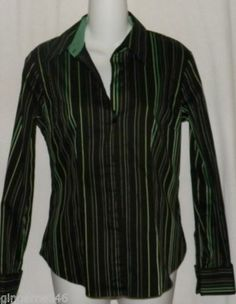 New York and Company Shirt Size Small Green Black Stripes free shipping