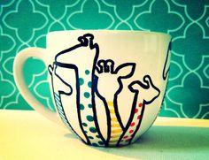 "Mini Mug ""Half Giraffe"" Children's miniature giraffe cup hand drawn by WholeWildWorld, $10.00 kids. children. cup. toys. polka dot. stripes. fun. cute. gift. gift idea. dishes"