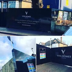 Printed hoarding for Vita Homes incorporating cgi imagery and sunken led lights and flag pole for a site in Croydon Surrey. Hoarding Design, Large Format Printing, Croydon, Property Development, 3 In One, Surrey, Detached House, Cgi, Creativity