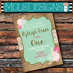 Any Color GLITTER BIRTHDAY Vintage Gold Burlap Lace Shabby First 1st 2nd 3rd 10 Mint Coral Pink Peach Floral Baby Bridal Shower Invitation