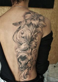 lily and skull tattoo for girl - 55 Lovely Tattoos for Girls  <3 !    I love this even without color!