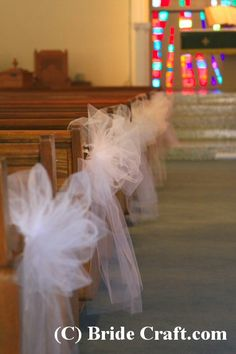 Tulle Bows for the Aisle Chairs - visit the website for instructions on how to make.