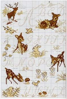 Cross-stitch Woodland Critters... no color chart available, just use the pattern chart as your color guide... Gallery.ru / Фото #11 - De fil en Aiguille HS 14-06 - Labadee