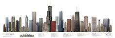 Chicago Illustrated Panorama Skyscraper Poster Print Photo - at AllPosters.com.au