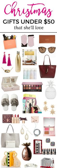 The best Christmas gift ideas for women under $50! You wont want to miss this adorable Christmas gift guide for women created by Florida beauty and fashion blogger Ashley Brooke Nicholas