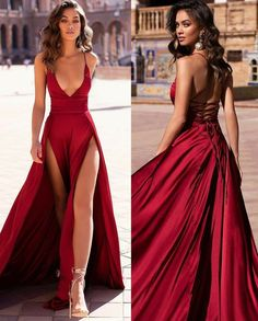 Prom Girl Dresses, Prom Outfits, Gala Dresses, Cute Dresses, Short Dresses, Formal Dresses, Shades Of Burgundy, Fantasy Gowns, Satin Gown