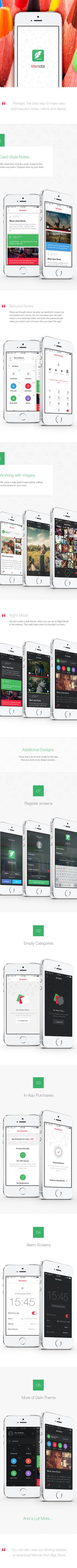 Menote - Awesome Notes for iOS by Dmitriy Haraberush, via Behance