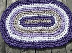 Dark Purple Edge Oval Rag Rug 010114 by Kimsrugs on Etsy, $25.00