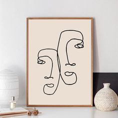 Abstract One Line Couple Face Drawing Print Minimalist Romantic Couples Gifts Art Canvas Painting Bedroom Home Wall Art Decor Abstract Canvas Art, Wall Canvas, Canvas Art Prints, Canvas Paintings, Wall Prints, Love Wall Art, Wall Art Decor, Dining Room Wall Art, Minimalist Art