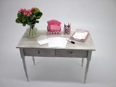 Dollhouse miniature furniture shabby chic desk