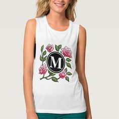 Rose Floral Illustration and Monogram Flowy Muscle Tank Top Tank Tops