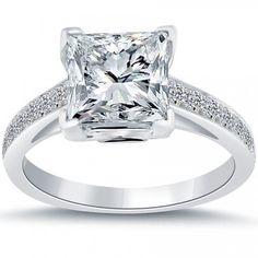 3.57 Carat D-VS2 Certified Princess Cut Diamond Engagement Ring 18k White Gold