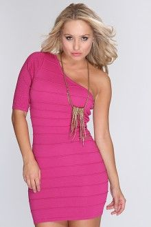 Fuchsia Shimmery One Quarter Sleeve Ribbed Slit Side Sexy Bandage Dress 40%  Off http  89db0517d
