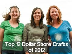 Top 12 Dollar Store Crafts of 2012: including t-shirt yarn, glass marble-tiled table, and wedding craft ideas