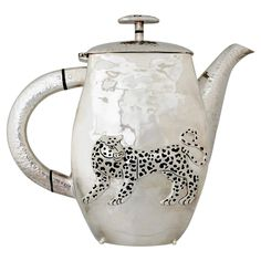 Emilia Castillo Silver Plate Leopard Tea or Coffee Pot, 1990 | From a unique collection of antique and modern pitchers at https://www.1stdibs.com/furniture/dining-entertaining/pitchers/