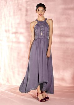 Brave New Whirl Maxi Dress in Lavender by ModCloth - Purple, Solid, Embroidery…