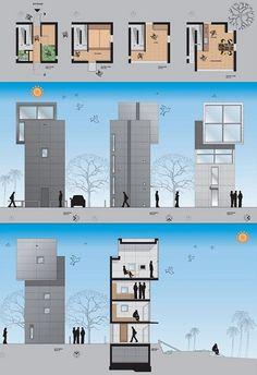 4x4 house tadao ando plan, elevation, section