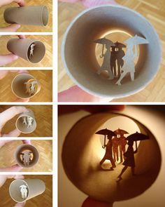 These paper artworks are created by Paris-based artist Anastassia Elias. They are cut inside the toilet paper rolls.