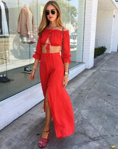 7 fashionable outfit ideas to try before summer ends, from the best dressed bloggers on Instagram: Chiara Ferragni in a coordinating set of a red off-the-shoulder crop top and high-slit skirt