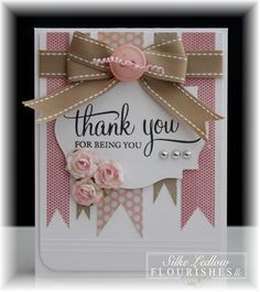 Beautiful Pink & White Card...with banners & bow.   Our Creative Corner.