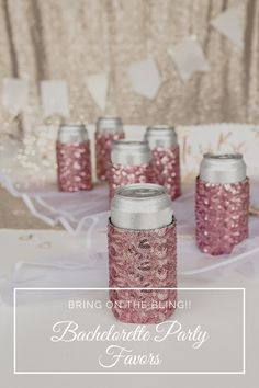 Bachelorette party favors are a sparkly addition to your last bash party. Gift these sequin can coolers to your party guests for a girls weekend. Add them to hangover kits, survival kits & bachelorette goodie bags for your bridesmaids. Available in pink and black to match your party decor. And fun to your beach bachelorette party, New Orleans bachelorette party or Nash Bash. Gift idea for your bachelorette girls night! Glitter coozies fit bottles and cans. Visit daisylaneco.com to purchase! Wedding Gifts For Guests, Wedding Party Favors, Party Guests, Wedding Ideas, Bachelorette Party Planning, Beach Bachelorette, Hangover Kits, Blush Wedding Theme, Will You Be My Bridesmaid Gifts