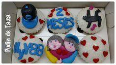 Cupcakes Caja de 6 unidades,  sabor a  piña. Para celebrar 2 meses de amor.